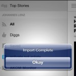 Digg Reader - Import from Google Reader completed